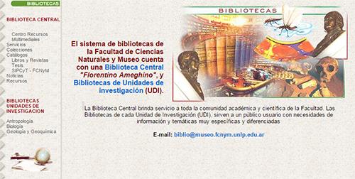 Portada de la web de la biblioteca entre 2000 y 2005