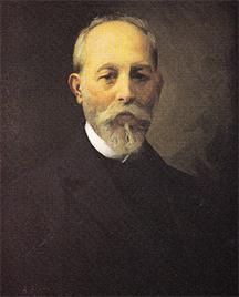 Florentino Ameghino por Antonio Alice (1911). Oleo 78x56cm